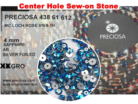Sapphire AB, Preciosa Czech MC VIVA Loch Rose 1-hole Sew-on Stones Style #438-61-612, 4mm, 288 pieces, Blue coated with Aurora Borealis, Silver Foiled, Center Hole Lochrosen