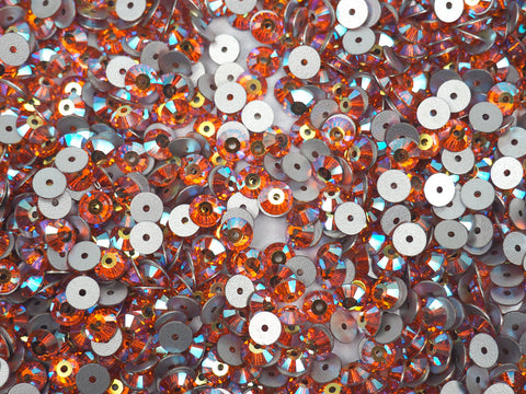 Sun AB, Preciosa Czech MC VIVA Loch Rose 1-hole Sew-on Stones Style #438-61-612, 5mm, 144 pieces, Orange coated with Aurora Borealis, Silver Foiled, Center Hole Lochrosen