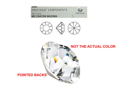 Topaz, Preciosa Genuine Czech MAXIMA Pointed Back Chatons in size ss28 (6mm, 0.24inch), 36 pieces, Silver Foiled, P636