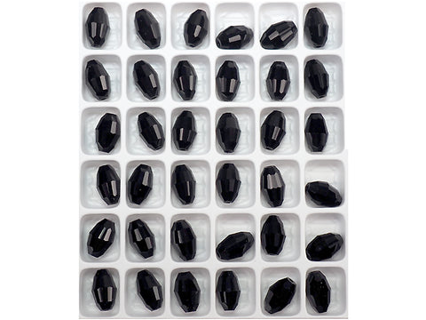 Jet black, Preciosa Czech Machine Cut Olive Crystal Beads, barrel shape in size 9x6mm, 36 pieces