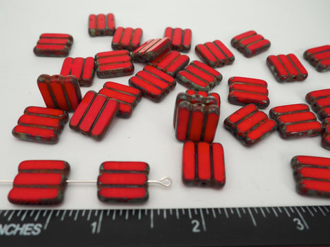 20pcs of Czech Glass Table Cut Square Window Beads in size 14mm, side drilled, Opaque Red with Picasso coating  Art. 151-33336, col. 93200/43400