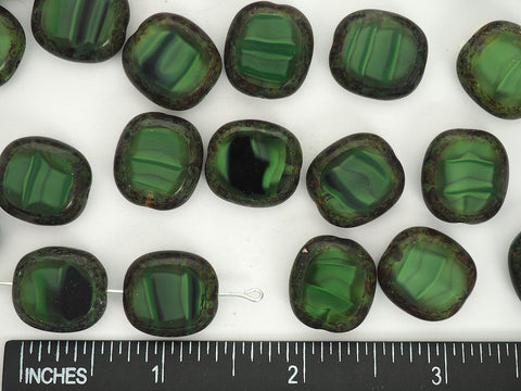 12pcs of Czech Glass Table Cut Cushion Window Beads in size 17x15mm, side drilled, Dark Green Opal Swirl with Picasso coating