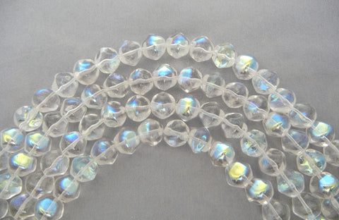 20 Czech Glass Druk Beads 10mm Crystal AB, irregular round pressed, clear AB coated, P200
