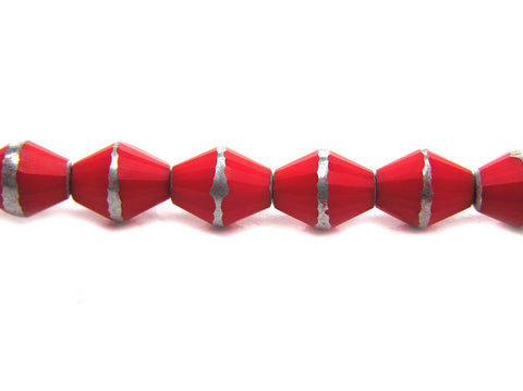 22 Czech Glass Bicone Shaped Fire Polished Beads 8x6mm Red Coral with Silver, P216