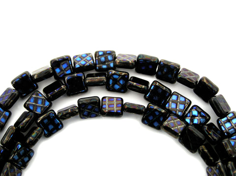 22 Czech Glass Square Shaped Druk Beads 8x8mm Jet with Blue Peacock coating, P220