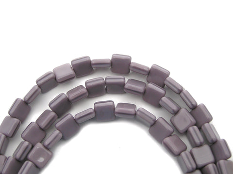 22 Czech Glass Square Shaped Druk Beads 8x8mm Violet Silk, P221