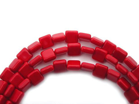 22 Czech Glass Square Shaped Druk Beads 8x8mm Red Coral, P222
