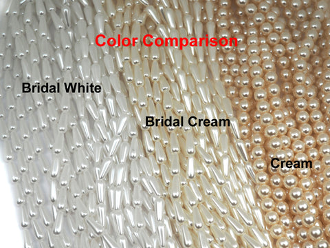 Czech Nugget Triangle Glass Pearls 5x7mm Bridal Cream Imitation Pearl