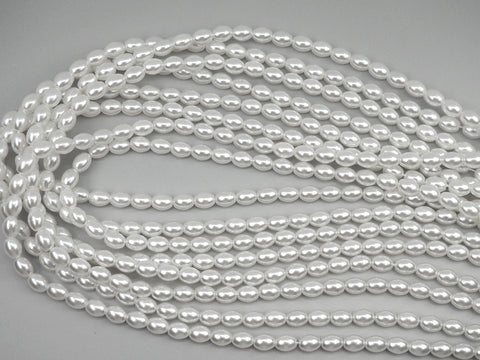 Czech Oval Shaped Glass Pearls 5x3mm or 7x5mm Bridal White Imitation Pearl