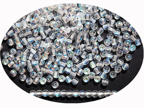 'Czech Round Smooth Pressed Glass Beads in Crystal AB coated, 2mm, 3mm, 4mm, 6mm, 7mm, 8mm Druk Bead