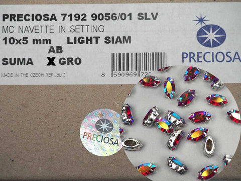 Light Siam AB, Preciosa Czech MC Navette Rhinestones in Silver Plated Sew-on Settings, 10x5mm, 24 pieces