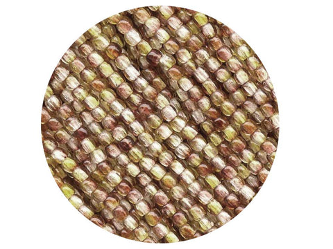 'Czech Glass Druk 2mm Round Smooth Beads, Crystal Brown and Yellow Luster, 1 mass, 1200 pieces, pressed True2 beads, P337