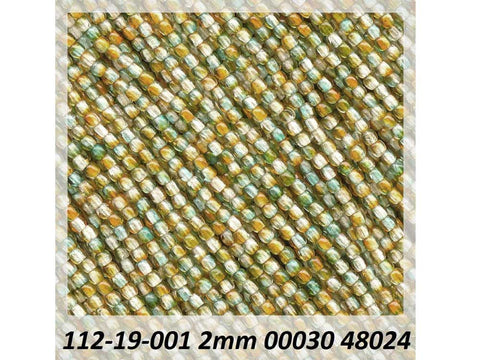 'Czech Glass Druk 2mm Round Smooth Beads, Crystal Orange and Green Luster, 1 mass, 1200 pieces, pressed True2 beads, P339