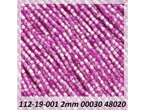 'Czech Glass Druk 2mm Round Smooth Beads, Crystal Fuchsia Mix Luster, 1 mass, 1200 pieces, pressed True2 beads, P340