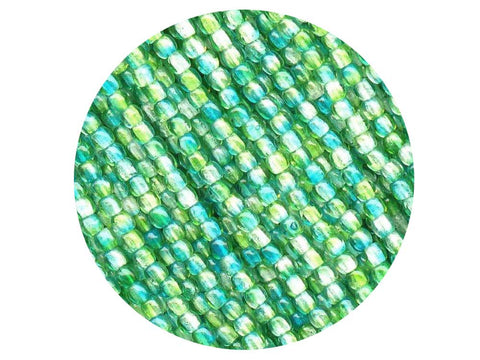 'Czech Glass Druk 2mm Round Smooth Beads, Crystal Green and Yellow Luster, 1 mass, 1200 pieces, pressed True2 beads, P342