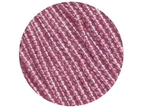 'Czech Glass Druk 3mm Round Smooth Beads, Crystal Light Pink Luster, 1 mass, 1200 pieces, pressed beads, P344