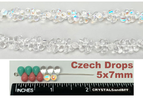 'Czech Glass Druk TearDrop Beads 5x7mm Rosanine Opaque, 66 pieces, pressed smooth top drilled, P354