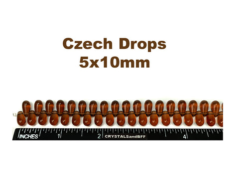 'Czech Glass Druk TearDrop Beads 5x10mm Smoked Topaz, 50 pieces, pressed smooth top drilled, P355