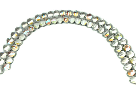 'Czech Glass Druk TearDrop Beads 5x7mm Crystal AB, 66 pieces, pressed smooth top drilled, P352