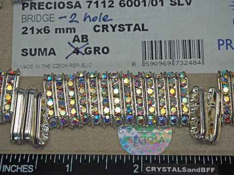 'Preciosa Genuine Czech Rhinestone 2-Hole BRIDGE Rondelles 21x6mm Crystal AB, Silver Plated Spacers, 12 pieces, P361