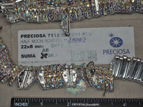 'Preciosa Genuine Czech Rhinestone 3-Hole HALF MOON Rondelles 22x8mm Crystal AB, Silver Plated Spacers, 24 pieces, P362