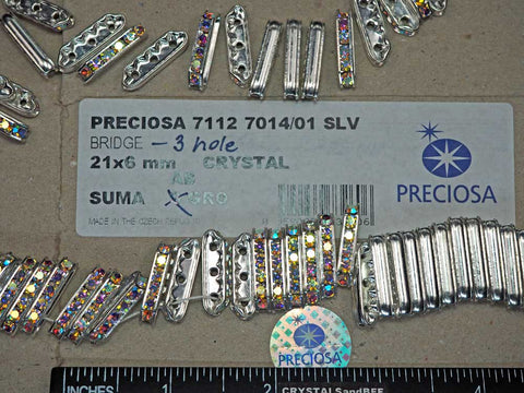 'Preciosa Genuine Czech Rhinestone 3-Hole BRIDGE Rondelles 21x6mm Crystal AB, Silver Plated Spacers, 12 pieces, P365