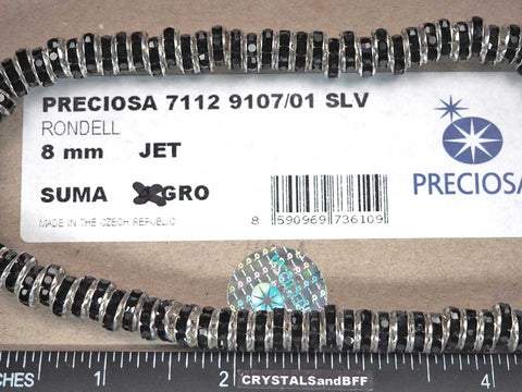 'Preciosa Genuine Czech Rhinestone Rondelles 8mm Jet black, Silver Plated Spacers, 144 pieces, P368
