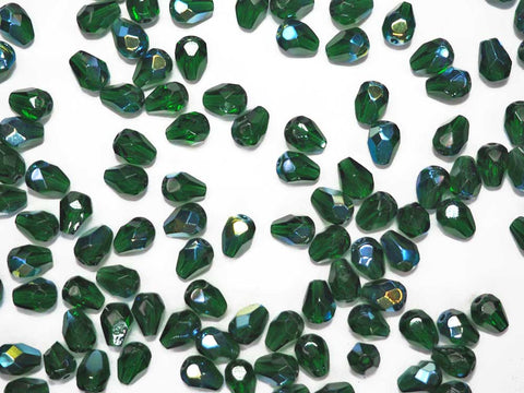 Czech Glass Pear Shaped Fire Polished Beads 8x6mm Medium Emerald AB green Tear Drops, 50 pieces, P390