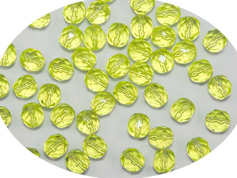 Yellow Neon, Czech Fire Polished Round Faceted Glass Beads, 8mm 36pcs