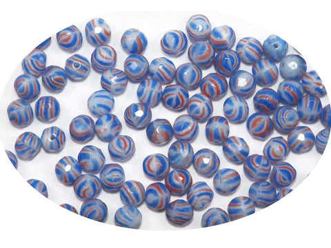 Chalk White Blue and Red Stripe, 3-tone combination, Czech Fire Polished Round Faceted Glass Beads, 8mm 36pcs
