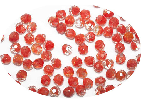 Crystal Red Givre, 2-tone combination, Czech Fire Polished Round Faceted Glass Beads, 8mm 36pcs