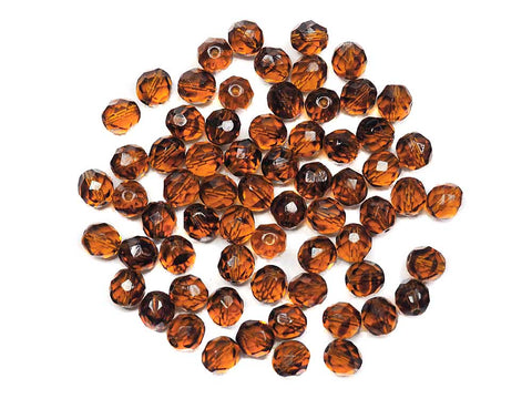 Topaz and Dark Topaz Blend, 2-tone combination, Czech Fire Polished Round Faceted Glass Beads, 8mm 36pcs