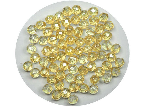 Crystal Yellow Luster coated, Czech Fire Polished Round Faceted Glass Beads, 8mm 36pcs