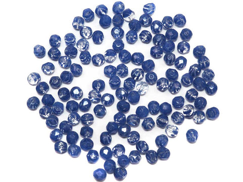 Crystal Blue Stripe, 2-tone combination, Czech Fire Polished Round Faceted Glass Beads, 6mm 60pcs
