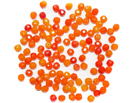 Orange Givre, 3-tone combination, Czech Fire Polished Round Faceted Glass Beads, 6mm 60pcs