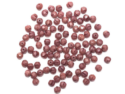Rosa Moonlight, 2-tone combination, Czech Fire Polished Round Faceted Glass Beads, 6mm, 8mm