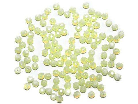 Yellow Lime Opal, Czech Fire Polished Round Faceted Glass Beads, 6mm 60pcs