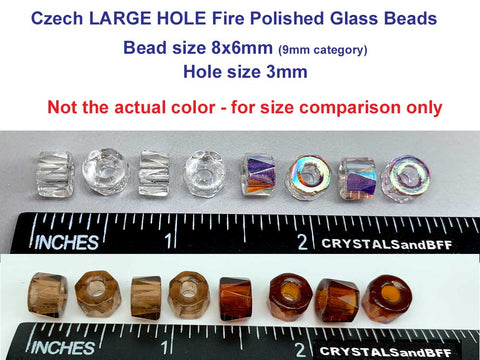 Czech Glass LARGE HOLE Tire Spacer Fire Polished Beads 8x6mm clear Crystal, 40 pieces, P444