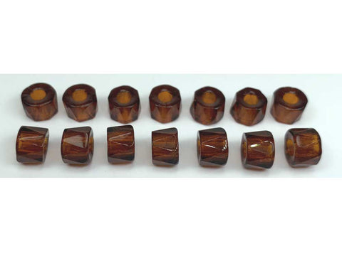Czech Glass LARGE HOLE Tire Spacer Fire Polished Beads 9mm Topaz (Dark), 40 pieces, P446