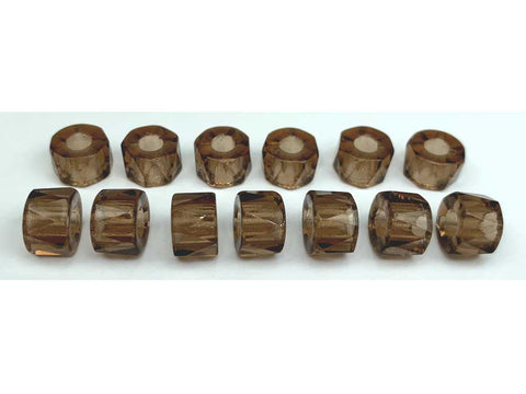 Czech Glass LARGE HOLE Tire Spacer Fire Polished Beads 9mm Smoked Topaz, 40 pieces, P447