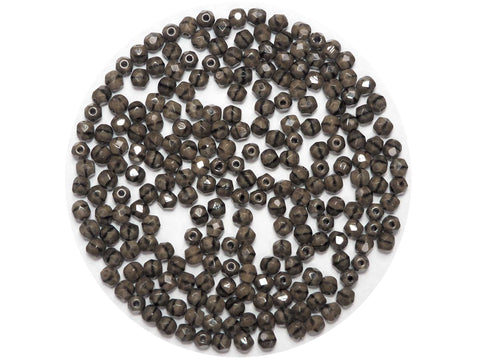 Brown Marmor, Czech Fire Polished Round Faceted Glass Beads, 4mm 100pcs, P455