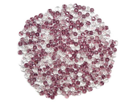 Clear and Purple 2-tone combination, Czech Fire Polished Round Faceted Glass Beads, 4mm 100pcs, P462