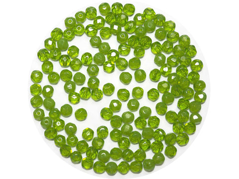 Green Givre, 3-tone combination, Czech Fire Polished Round Faceted Glass Beads, 5mm (P470), 10mm (P471)