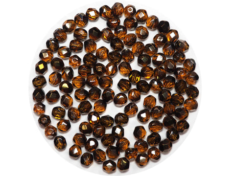Topaz Dark Golden coated, Czech Fire Polished Round Faceted Glass Beads, 6mm 60pcs, P472