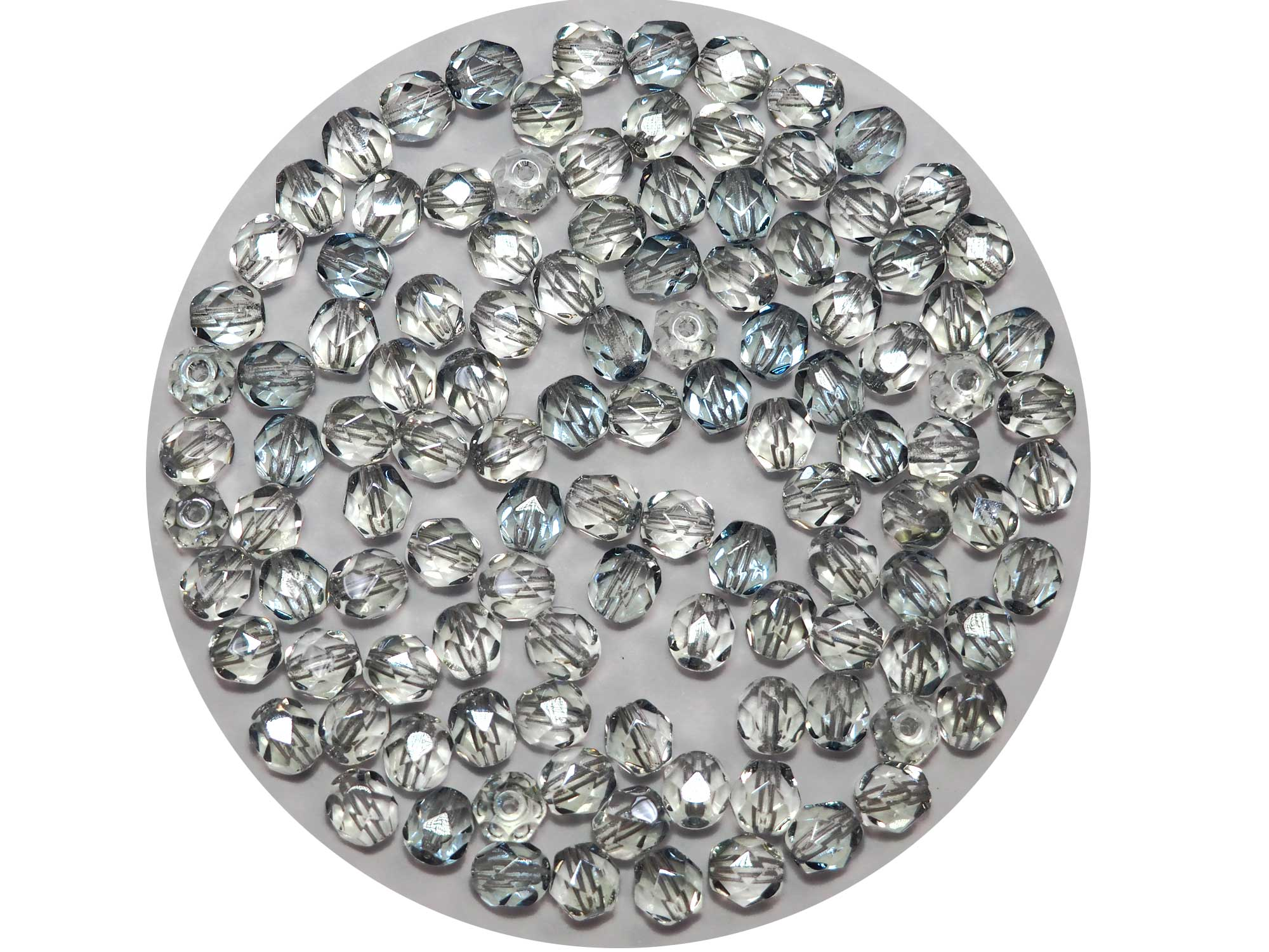Crystal Blue Luster Czech Fire Polished Round Faceted Glass Beads 6mm 60pcs P474