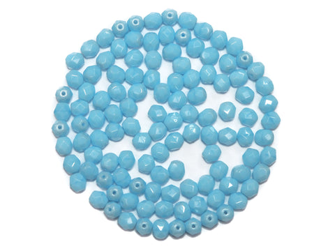Baby Blue Opaque, Czech Fire Polished Round Faceted Glass Beads, 6mm 60pcs, P485