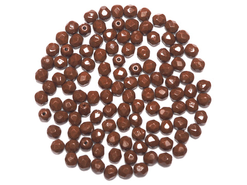 Brown Opaque, Czech Fire Polished Round Faceted Glass Beads, 6mm 60pcs, P486