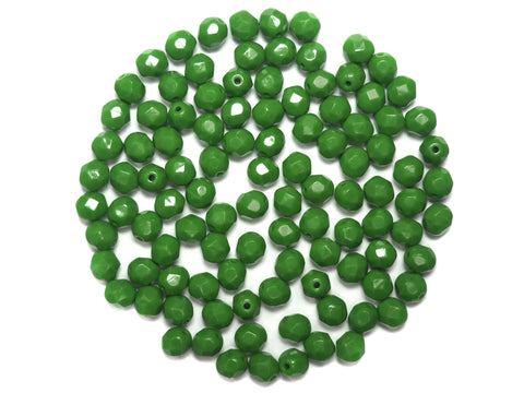 Apple Green Opaque, Czech Fire Polished Round Faceted Glass Beads, 6mm 60pcs, P488