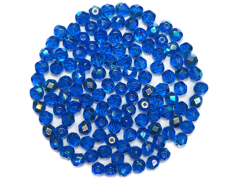 Capri Blue AB, Czech Fire Polished Round Faceted Glass Beads, 6mm 60pcs, P489
