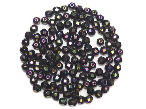 Jet Iris Fully coated, Czech Fire Polished Round Faceted Glass Beads, 6mm 60pcs, P491